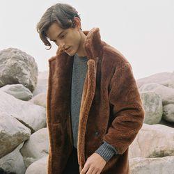 FAKE FUR LONG COAT BROWN (MEN)