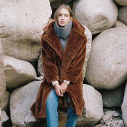 FAKE FUR LONG COAT BROWN (WOMEN)