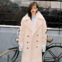 NEW FAKE WOOL FUR COAT BEIGE (WOMEN) (아이유 착용 코트)