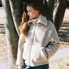 NEW FAKE WOOL FUR BOMBER JACKET BEIGE (WOMEN)