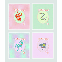 12지스토리 생일카드  클래식 4종 b세트