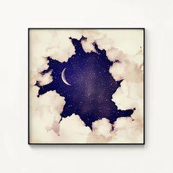 메탈 인테리어 달 우주 포스터 액자 Vintage moon sky 1