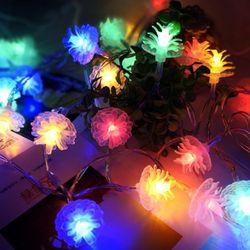 화이트 솔방울 LED 조명 가랜드