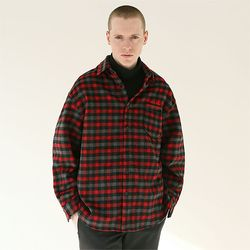 플란넬 타탄체크 포켓자수 셔츠 레드