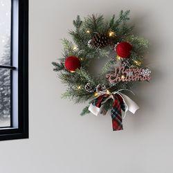 레드 볼 솔방울 X-MAS 리스+ 크리스마스기본LED전구(12구)