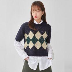 argyle pattern half knit