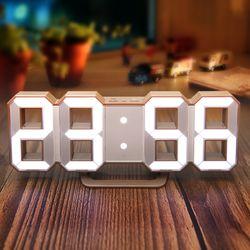 3D LED 탁상시계 라떼컬러 벽시계겸용 알람기능