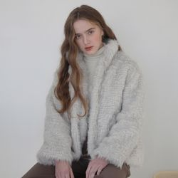 CURLY FUR JACKET SILVER