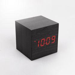 우드블럭스타일 LED탁상시계 큐브-레드LED