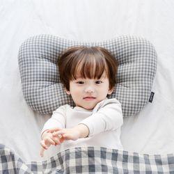 코니테일 아기 경추베개 - 그레이체크(어린이 유아베개)