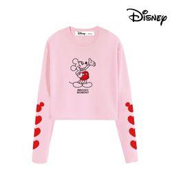 디즈니 미키 인 서울 한정판 맨투맨 티셔츠 핑크
