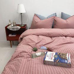 베니스 고밀도 스트라이프 호텔침구 - 핑크 싱글 풀세트