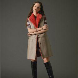 4way faux leather vest coat beige
