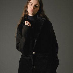 4way faux leather vest coat black