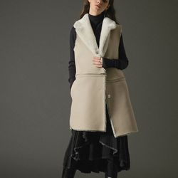 4way real merino wool vest coat ivory