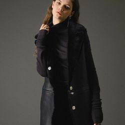 4way real merino wool vest coat black