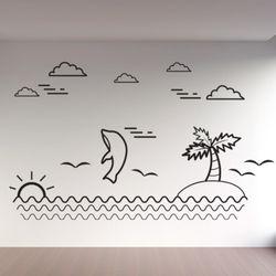 cg725-돌고래와바다그래픽스티커