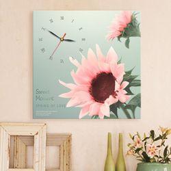 ct289-핑크해바라기노프레임벽시계