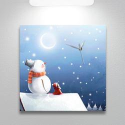 ct292-눈사람과포근한겨울나기노프레임벽시계
