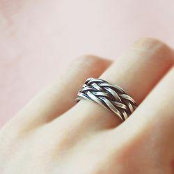 엔틱 트위스트 Silver Knit Ring (FREE SIZE)