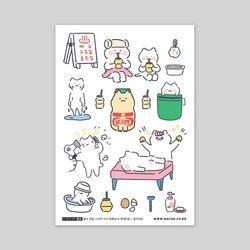 셀프컷팅스티커-015 목욕냥 B (봉지)