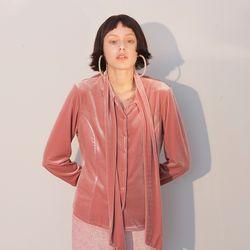 Velvet Tie Blouse Pink