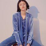 Velvet Tie Blouse Blue