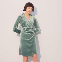 Velvet Shirring Dress Green