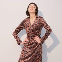 Velvet Shirring Dress Leopard