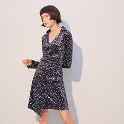 Velvet Shirring Dress Navy