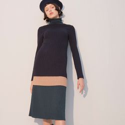 Color Block Jersey Dress Green