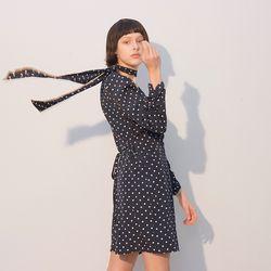 Puff Shoulder Tie Dress Dot