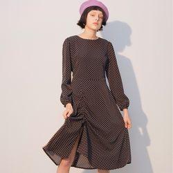 Slit Shirring Dress Black