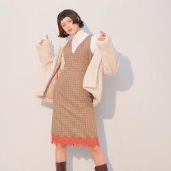 Lace Check Dress Brown