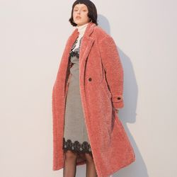 Teddy Bear Long Coat Pink