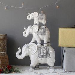 3단 엔틱 코끼리 화이트