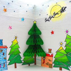 [만들기패키지] 허니컴 트리카드 (5인용)  크리스마스카드만들기