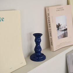 Ceramic candle holder-Cobalt blue
