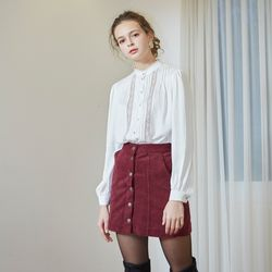 CORDUROY MINI SKIRT(BURGUNDY)