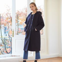 HOODED COAT(NAVY)