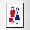 유니크 일본 인테리어 디자인 포스터 M 소년소녀 A3(중형)