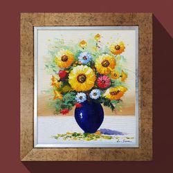 풍요의푸른꽃병 돈들어오는그림 해바라기 그림액자