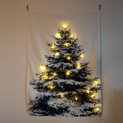 크리스마스 월 인테리어 패브릭 포스터 스노우 트리 전구 세트