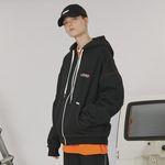 Stitch point hoodie zipup -black