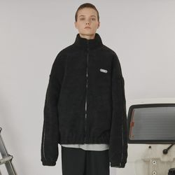 Highneck fleece zipup -black