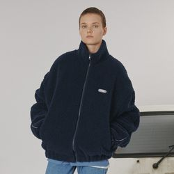 Highneck fleece zipup -navy