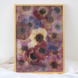 press flower  anemone  gold frame