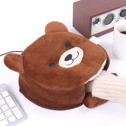 브라운베어 USB 온열 마우스패드 손목쿠션 (아답터추가)