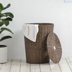 내추럴 라탄 세탁바구니 사각원형