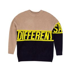 SLOGAN KNIT SWEAT SHIRT BEIGE